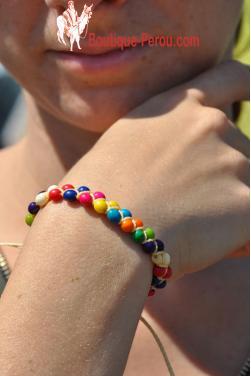 Bracelet ajustable en graines multicolores
