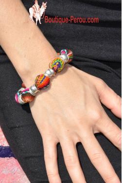 Bracelet perles en tissu