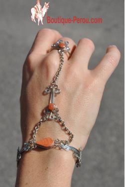 BRACELET BAGUE modele Tika en pierre semi precieuse en jaspe rouge