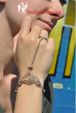 Bracelet bague modele Tika en pierre marbre