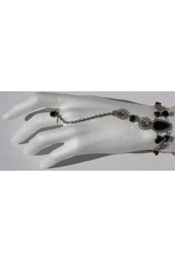 Bracelet bague en pierre onyx