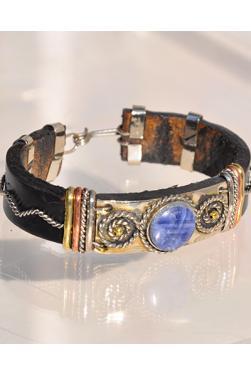 Bracelet en cuir et pierre lapis-lazuli