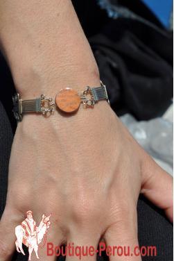 Bracelet avec pierre jaspe rouge.