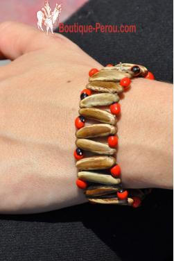 Bracelet Huayruro rouge et marron