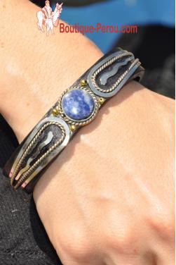 Bracelet en cuir et pierre semi précieuse lapis-lazuli