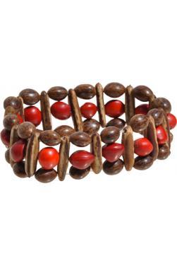 Bracelet huayruro graines rouges et brunes