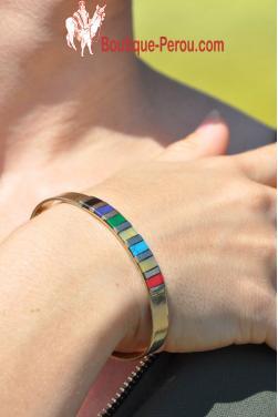 Bracelet Inca Quilla avec plusieurs pierres Péruviennes