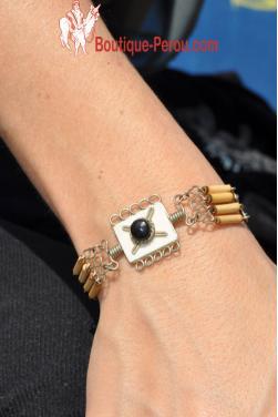 Bracelet fin en pierre onyx