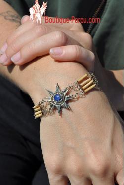 Bracelet bambou fin en pierre lapis-lazuli