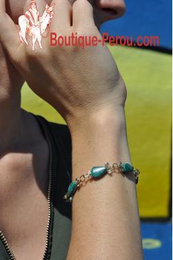 Bracelet Raymi pierre turquoise péruvienne