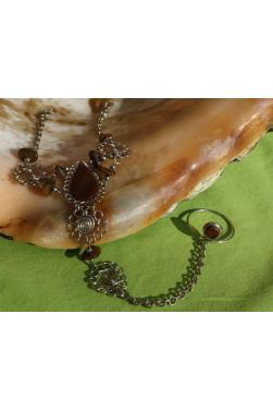 BRACELET BAGUE en pierre péruvienne tigrillo - oeil de tigre