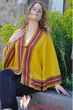 Poncho alpaga jaune soleil