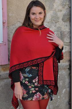 Cape rouge réversible en laine d'alpaga