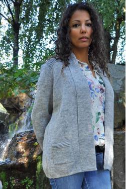 Gilet femme long coupe droite gris