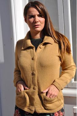 Gilet femme en laine d' alpaga couleur camel