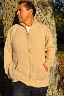 Blouson épais en laine naturel d'alpaga