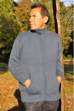 Blouson épais homme bleu gris en laine d'alpaga