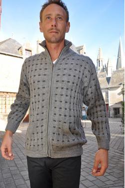 Cardigan gris des Andes en fibre d'alpaga