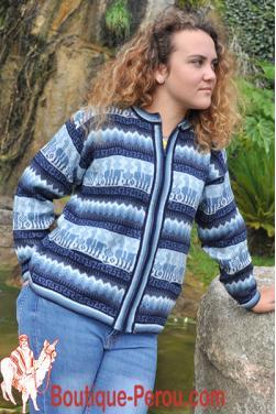Cardigan veste bleu  en laine d'alpaga