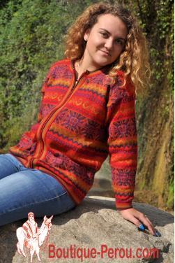 Cardigan veste jacquard avec dessins géométriques du soleil
