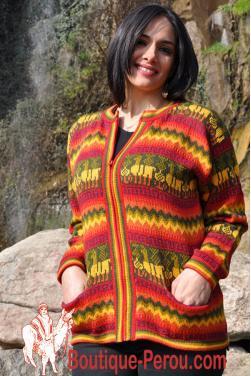 Veste femme couleurs de l'arc en ciel en laine d'alpaga