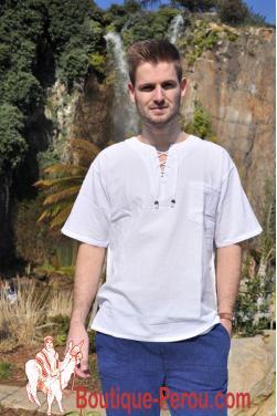 Chemise tunique-blanche manche courte