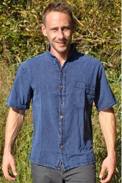 Chemise bleu denim en coton doux