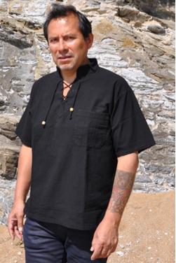 Chemise tunique homme col Mao