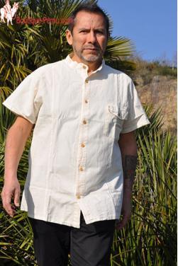 Chemise homme col Mao coton naturel