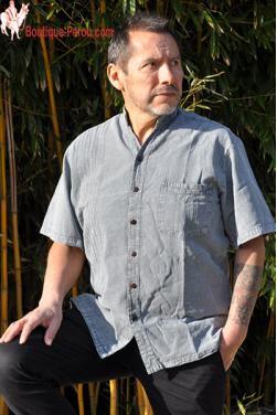 Chemise homme col Mao coton Pima