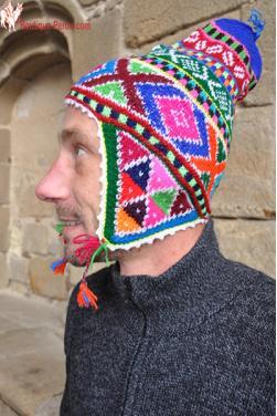 Bonnet péruvien homme arco iris bleu