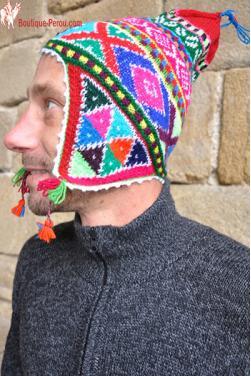 Bonnet péruvien homme arco iris rouge