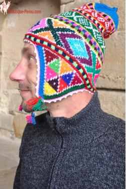 Bonnet péruvien homme arco iris turquoise