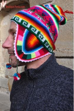 Bonnet péruvien homme arc en ciel rouge