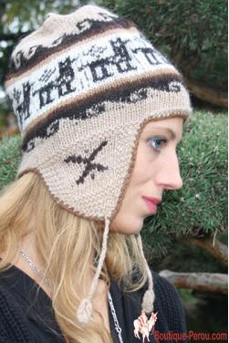 Bonnet péruvien en laine vierge d'alpaga couleur crème