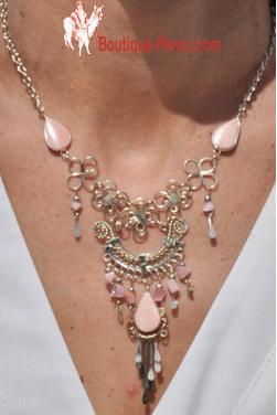 Collier Quilla pierre quartz rose