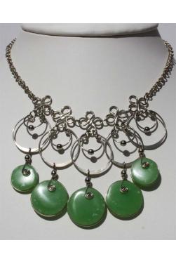 Collier colla  avec verre murano vert