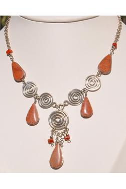 Collier Nazca pierre jaspe rouge
