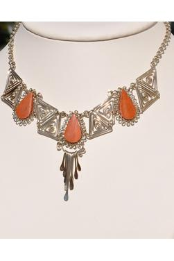 Collier Kuntur pierre jaspe rouge