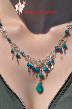 Collier Qosqo pierre turquoise