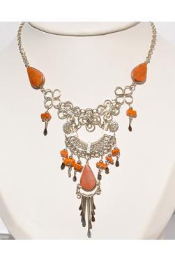 Collier Quilla pierre jaspe rouge