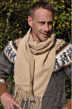 Echarpe en laine d'alpaga beige