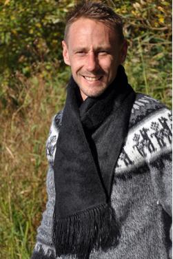 Echarpe en laine d'alpaga noir