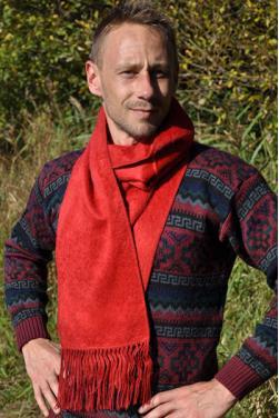 Echarpe en laine d'alpaga rouge indien