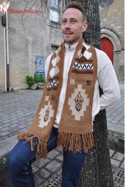 Écharpe homme en laine naturelle d'alpaga