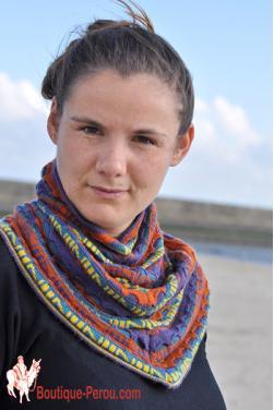 Echarpe péruvienne femme en laine d'alpaga
