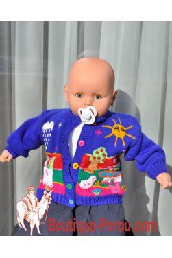 Gilet péruvien bébé avec col rond fait a la main