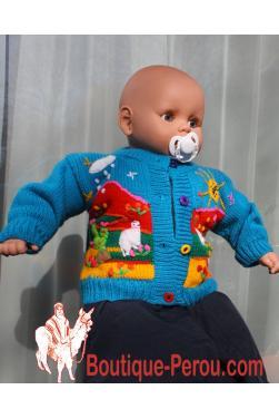Gilet peruvien pour bébé, pièce unique.