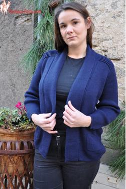 Cardigan long bleu marine