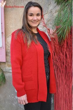 Gilet long coupe droite rouge indien